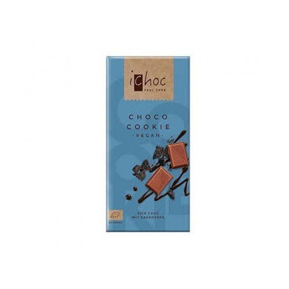 Ichoc bio csokis kekszes csokoládé rizsitallal 80 g