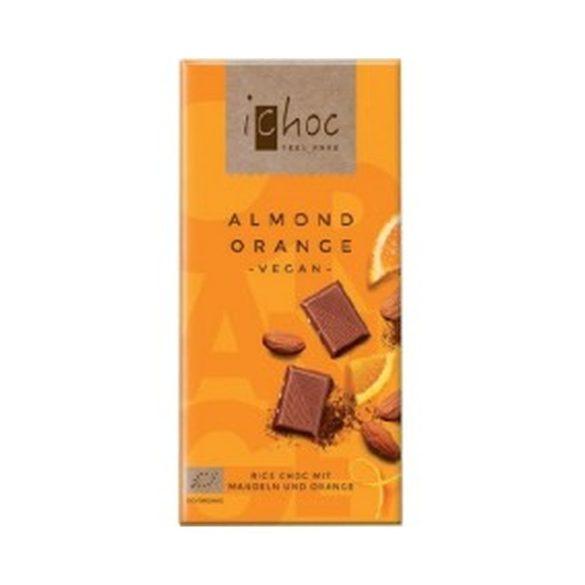 Ichoc bio mandulás narancsos csokoládé rizsitallal 80 g