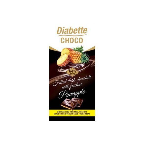 Diabette töltött étcsokoládé ananász 80 g