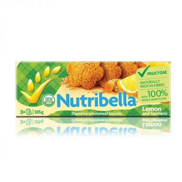 Nutribella keksz fruktózzal citrom-kurkuma 105 g